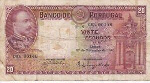 1940 Portugal 20 Escudos Note, Pick 143