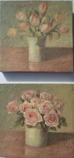 shabby chic block wall mount print flowers roses tulips pastel floral picture