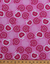 Pink Apple Basket Plaid Fruit Apples Cotton Fabric Print by the Yard D771.10