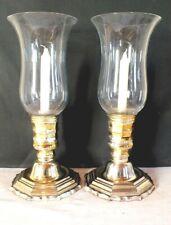 photophore paire metal doré verre