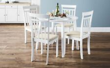 Julian Bowen Coast White Wood Round Kitchen Dining Table Drop Leaf 4 Chairs
