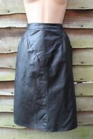 Women's Vintage ECHTES LEDER High Waist Pencil Black 100% Leather Skirt UK6 UK8