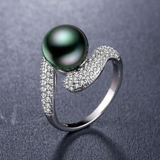 925 Silver Jewelry Fashion Round Cut Black Pearl Women Wedding Ring Size 10