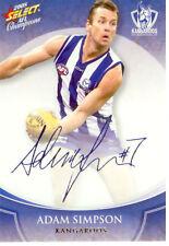 2008 Select AFL Champions Blue Foil Printed Signature FS54 A. Simpson(Nth. Melb)