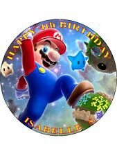 "SUPER MARIO - DESIGN 1 PERSONALIZED 7.5"" CIRCLE ICING CAKE TOPPER"