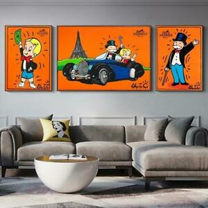 Alec Monopoly Graffiti Art Money Canvas Painting Posters And Prints Wall Art