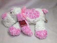 "Dan Dee Pink / White Plush Dog valentines ribbon 14"" long"