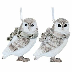 Gisela Graham Owl Decoration White & Brown Resin ONE SUPPLIED