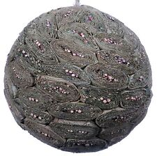 Leaf Twig Mosaic Decorative Ball Ornament Natural Green Christmas Tree New 577f