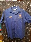 Mighty Mouse Shriners Hospital 007 Blue Button Up Shirt Mens Large Vintage