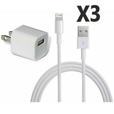 (3) iPhone 5, 6, 7, 8, X Data Sync USB Lighting Cable Cord W/ Free Wall Charger