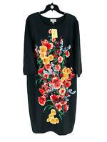 Weslee Rose Women's Black Floral Print 3/4 Sleeve Sheath Dress Size 20W Plus NEW