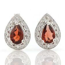 Ohrringe/Ohrstecker Jillian, 925er Silber, 0,82 Kt. echter Granat/Diamant