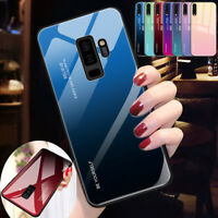 Gradient Tempered Glass Back Case Cover For Samsung Galaxy A6 A8 J4 J6 J8 Plus