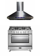 """Verona Prestige VPFSGG365SS 36"""" All Gas 5 Burner Range Oven Hood Stainless Steel"""
