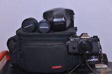 Olympus OM-2 Spot/Program 35mm SLR two lens and padded bag camera Kit
