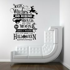 Halloween Witches Broomstick Spooky Vinyl Decal Stickers Shop Window Wall Decor