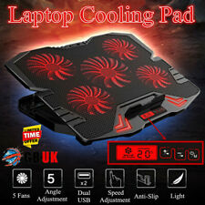 12-17'' USB Notebook Cooling Pad 5 LED Fans Touch Cooler Stand Gaming Laptop Mat