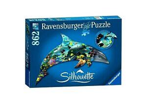 RAVENSBURGER. SILHOUETTE. 862 PCS. DOLPHIN AND OCEAN. ITEM NR.16154. NEW