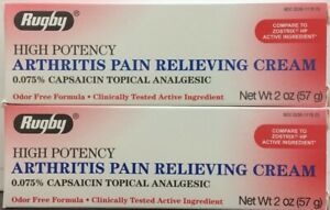 Rugby Capsaicin Cream 0.075% HIGH POTENCY Pain Relief 57gm (2 pack) red EXP:1/23