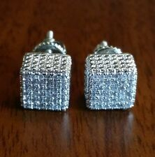 Men's  square C z micro pave screw back silver 8 mm stud earrings.