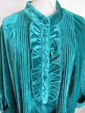 Women's Velour Pull Over Top Size1X Tuxedo Detailing Green NWOT