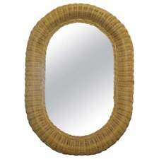 NICE ORNATE WICKER OVAL WALL MOUNTED MIRROR ORNATELY HAND WOVEN