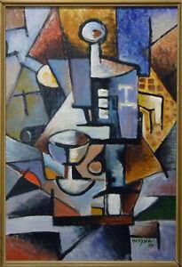 Original Vintage Cubist Painting - Slovak art