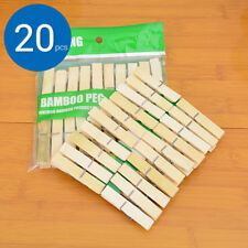 20Pcs Nature Bamboo Clips Clothes Pins Wooden Washing Line Drying Clips Pegs  O