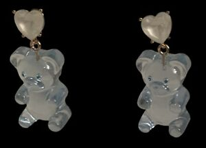 New Betsey Johnson Baby Blue Gummy Bear Dangle Earrings With  Heart Crystals