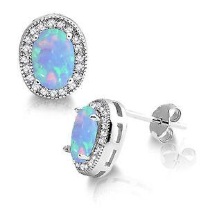 Petite Oval Australian Moon Blue Fire Opal Halo CZ Sterling Silver Stud Earrings