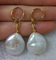 14-15mm South Sea White Baroque Pearl Earrings 14K YELLOW GOLD Plated Dangle