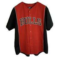Chicago Bulls sz XL Red Black Embroidered Majestic Baseball Jersey NBA