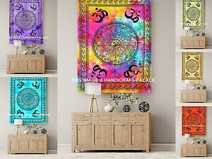 Om Mandala Meditation Tapestry Indian Large Wall Hanging Hippie Bedspread Throw