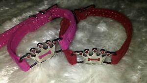 VELVET CROWN PUPPY Toy DOG COLLAR RED BLACK PINK SOFT 3 SIZES DIAMANTE DETAILS