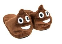 MENS GENTS BOYS EMOJI POO DESIGN HAPPY FACE WINK WINTER MULE SLIPPERS SHOES SIZE