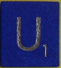 Scrabble Tiles Replacement Letter U Blue Wooden Craft Game Part Piece 50th Ann.