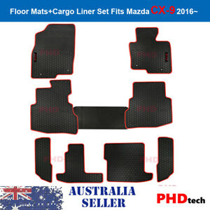 Mazda CX9 CX-9 16-21 Tailor Made All Weather Rubber Car Floor Mats 9 pic RedTrim
