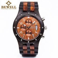 Bewell W109D Wood Watch Men Sub-dials Quartz Movement Date Wooden Wrist Watches