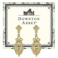Downton Abbey Gold Tone Bow Drop Filigree Earrings 17604