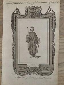 1785 King John Of England Original Historical Copperplate Engraving