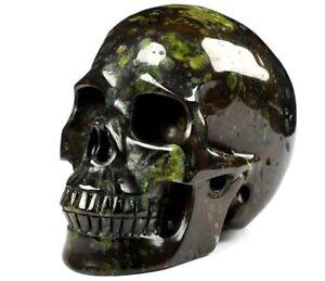 "Huge 5.0"" PLUMITE Carved Crystal Skull, Realistic, Crystal Healing"