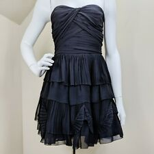 Diane von Furstenberg Dress 6 Brighton Black Silk Tiered Ruffle Cocktail Party