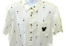 Disney Junk Food Mickey Mouse Palm Trees Camp Shirt Large White Black Cotton