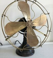 "Antique General Electric GE NON Oscillating Fan 16"" brass blades CAGE NEW MOTOR"