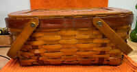 Vintage BURLINGTON Woven Wood Picnic Basket with Lid & Handles