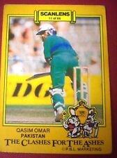 PAKISTAN, QASIM OMAR - SCANLENS 1986-87 CLASHES FOR THE ASHES Cricket Card # 11