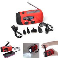 Emergency Solar Hand Crank Dynamo LED Flashlight AM/FM/WB Radio Phone Charger US