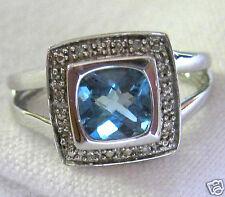 Corte Almohada Diamante Azul Topacio Detalle Anillo Plata de Ley .925 Tamaño 7