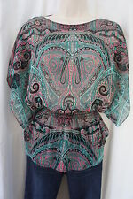 INC Blouse Sz 0 Teal Black Multi Color Sheer Cinched Waist Geometric Pattern Top